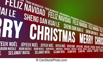talen, rond het draaien, kerstmis, vrolijk
