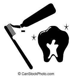 tand, set, schoonmaken, pictogram