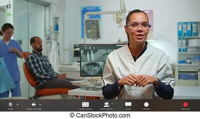 tandarts, over, online, teeth, toespraak, medic, hebben, hygiënisch