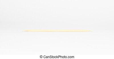 tandenstoker, houten, witte achtergrond