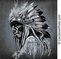tatoeëren, hoofd, op, donker, amerikaan indiaas, achtergrond, verticaal, kunst