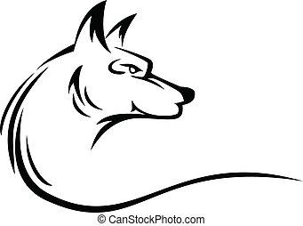 tatoeëren, hoofd, wolf