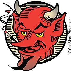 tatoeëren, ontwerp, duivel, kunst, smoking