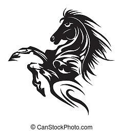 tatoeëren, paarde, embleem, symbool, vrijstaand, of, ontwerp, logo, witte , template.