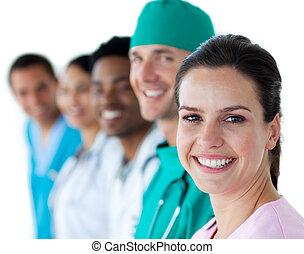 team, het glimlachen, fototoestel, multi-etnisch, medisch