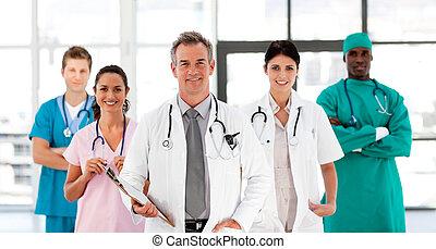 team, het kijken, het glimlachen, fototoestel, medisch