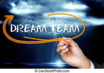 team, schrijvende , zakenman, woord, droom