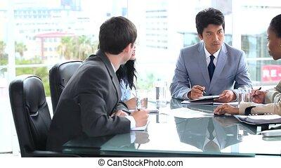 team, sprekende zaken, samen, serieuze