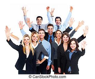 team., vrolijke , zakenlui