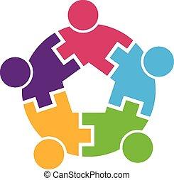 teamwork, logo, cirkel, 5, interlaced