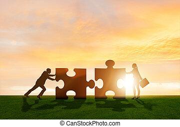 teamwork, raadsel, jigsaw, metafoor, zakelijk