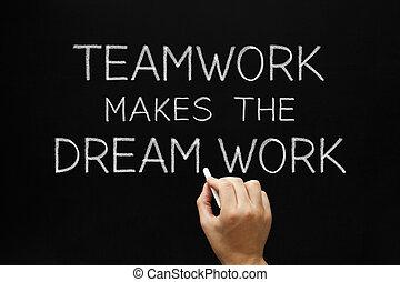 teamwork, werken, maakt, droom