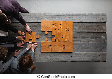 teamwork, zakelijk, raadsel