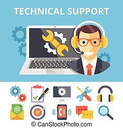 technisch, plat, steun, illustratie