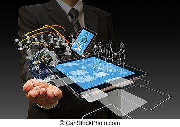 technologie, zakenlieden, hand