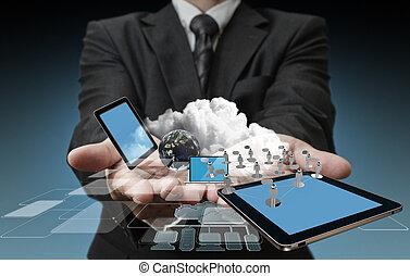 technologie, zakenlieden, handen