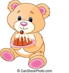 teddy, taart, beer