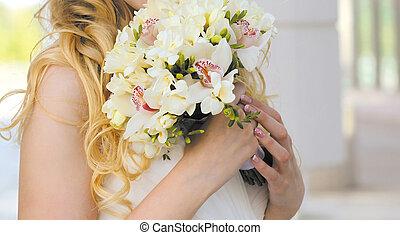 teder, bouquetten, closeup, trouwfeest