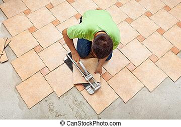 tegels, keramisch, het leggen, man, vloer