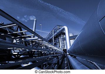 tegen, blauwe hemel, industriebedrijven, toon, pipe-bridge, pijpleidingen