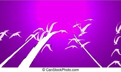 tegen, hemel, vlieg over, migrerend, paarse , vlucht, vogels, birds.