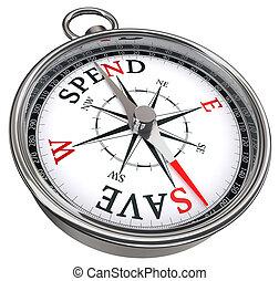 tegen, sparen, concept, uitgeven, kompas