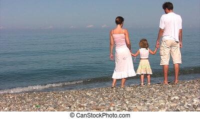 tegen, zee, stalletjes, gezin, kust