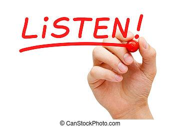 teken, rood, luisteren