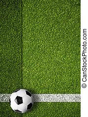 tekening, bal, voetbal, rand, akker, lijn, witte , voetbal