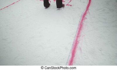 tekening, besneeuwd, mountain., maken, resort., challenge., competitie, verpulveren, trail., snowboarden, ski, rood, man