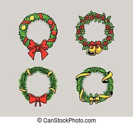tekening, krans, komisch, kerstmis