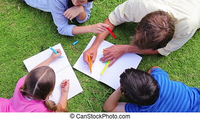 tekening, samen, gezin