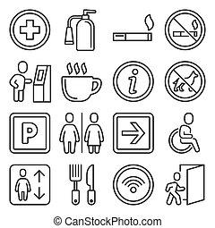 tekens & borden, vector, centrum, gebouw, shoppen , publiek, set.