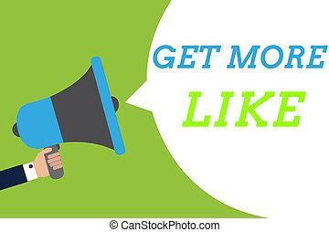 tekst, hashtags, meldingsbord, duimen, boodschap, luidspreker, aanhangers, vasthouden, foto, conceptueel, toespraak, megafoon, bel, het spreken, meer, loud., krijgen, like., goedkeuringen, het tonen, man, plugin, op, pagina