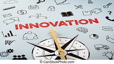 tekst, kompas, innovatie, -, iconen