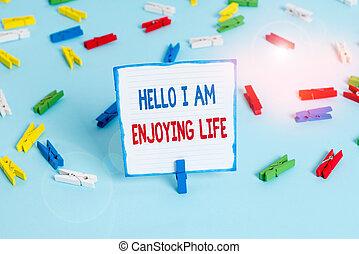 tekst, life., conceptueel, levensstijl, vloer, papieren, schrijvende , vrolijke , foto, ontspannen, officepin., wasknijper, gekleurde, het genieten van, hand, spullen, lege, hallo, herinnering, het tonen, genieten, blauwe , zakelijk, eenvoudig
