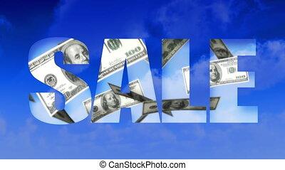tekst, (loop), geld, verkoop, sky-usd