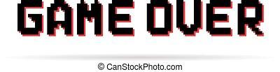 tekst, op, spel, black , pixel, rood