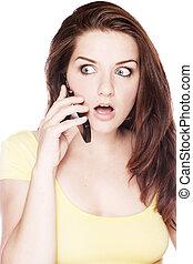 telefoneer vrouw, geshockeerde