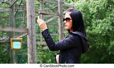 telefoneer vrouw, park, beweeglijk