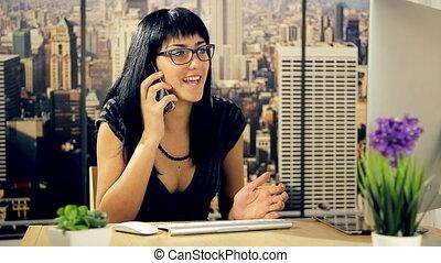 telefoneer vrouw, zakelijk