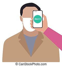 telefoon, afstand, mensen, scanderen, temperatuur, gezondheid