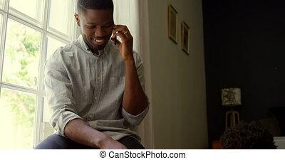 telefoon, black , thuis, beweeglijk, comfortabel, aanzicht, klesten, baby, vader, 4k, voorkant, jonge
