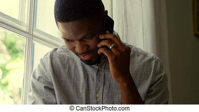 telefoon, black , thuis, beweeglijk, comfortabel, aanzicht, klesten, man, 4k, voorkant, jonge