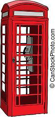 telefoon, brits, rood, kraam