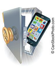 telefoon, concept, bescherming