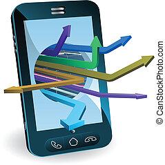 telefoon, concept, pijl