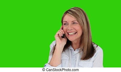 telefoon, lachen, gepensioneerd, vrouw