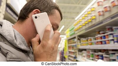 telefoon, man, winkel, klesten