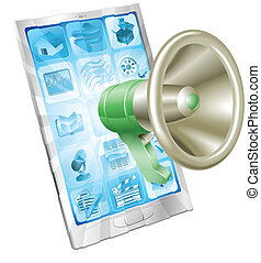 telefoon, megafoon, concept, pictogram